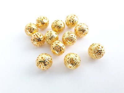 8 x Perline filigrana Oro (10mm)