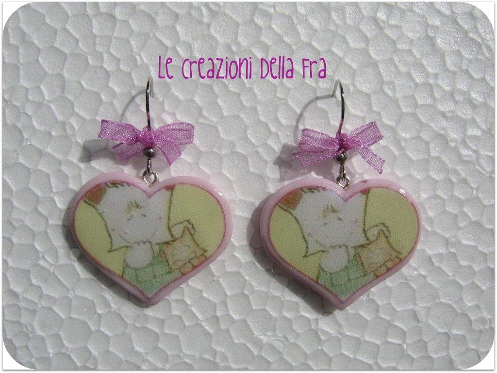 Orecchini Spank cuore rosa