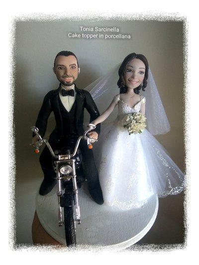 Cake topper sposi in moto