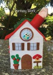 Scatola di feltro Porta box per fazzoletti di carta a forma di casetta, con tetto rosso