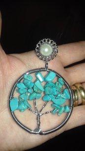 Spilla con albero della vita in vero turchese pietra dura naturale cristalloterapia