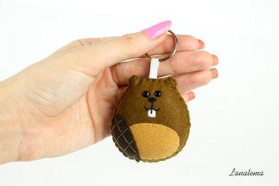 Castoro portachiavi in feltro, portachiavi fatto a mano, castoro animale, animali peluche, accessorio in feltro, animali in feltro