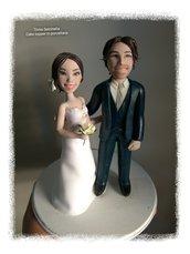 Cake topper sposi caricature in porcellana