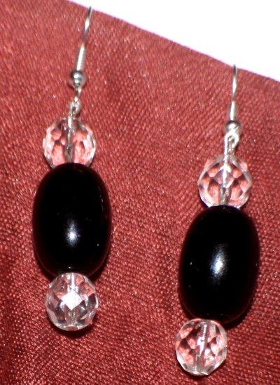 orecchini neri con mezzocristallo