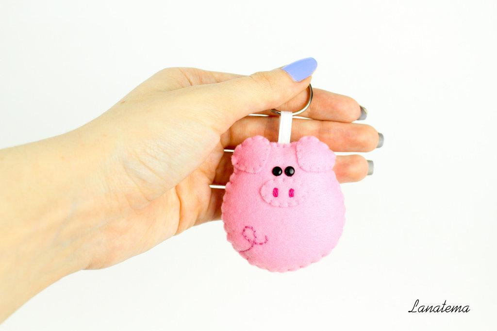Maiale portachiavi in feltro, maiale rosa ciondolo borsa, regalo simpatico, accessorio per borse