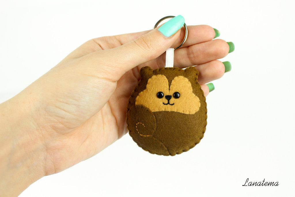 Scoiattolo portachiavi, scoiattolo in feltro portachiavi, animali in feltro, portachiavi marrone, accessorio chic per borsetta