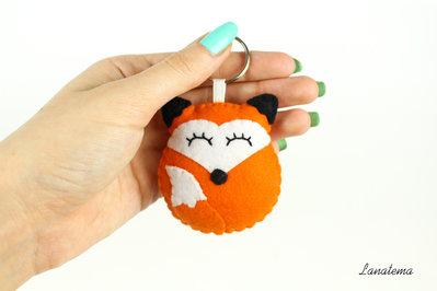 Portachiavi volpe, portachiavi in feltro, accessorio per borse e borsette, volpe in feltro, portachiavi arancione, animali feltro