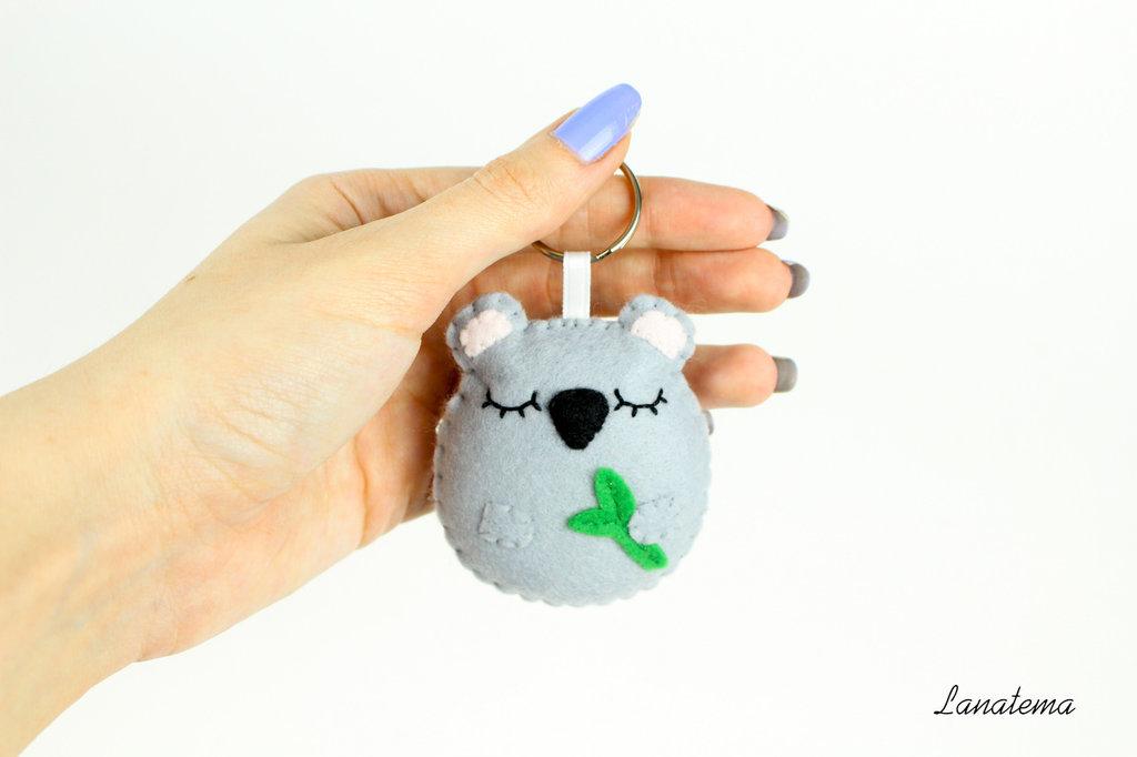 Koala portachiavi accessorio in feltro, portachiavi koala grigio, accessorio per borse, regalo pupazzo