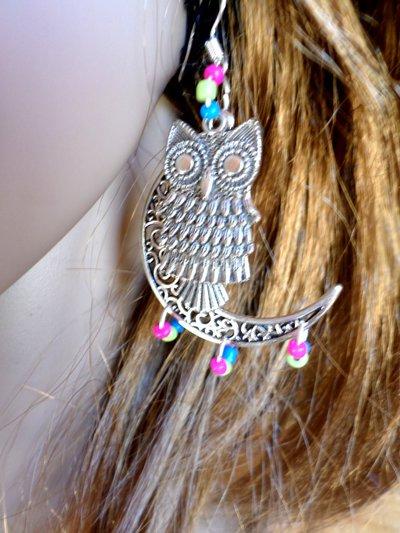 orecchini ragazza gufo e luna crescente tono argento