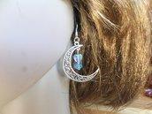 orecchini a forma di luna con cuori e perline celesti di cristallo bigiotteria ragazza