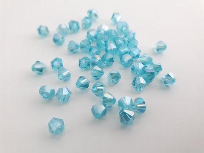 10 Bicono di cristallo vetro - Lago blu AB (4mm)
