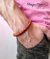 Bracciale uomo ragazzo con perle pietra Diaspro rosso, idea regalo per lui, minimal,stile etnico per la concentrazione