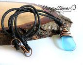 Collana uomo,collana ragazzo,collana goccia, idea regalo,azzurro,collana mare,per lui, minimal,collana wire,unisex,ciondolo resina,