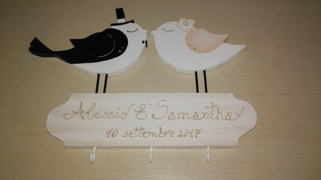 Targa matrimonio sposi in legno dipinto