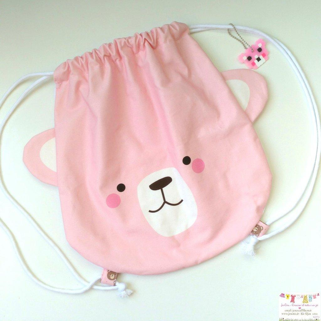 1 sacca zainetto orso rosa
