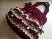 borsa fatta a mano donna in lana a righe decorata con noccioline e filo oro  stile boho - vintage