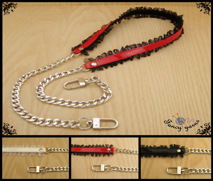 Tracolla per borsa lunga cm.100 - similpelle lucida, impunturata con tulle, catena argento, 3 colori a scelta