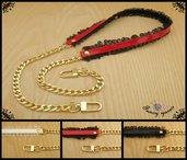 Tracolla per borsa lunga cm.85 - similpelle lucida, impunturata con tulle, catena oro, 3 colori a scelta