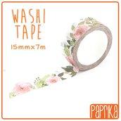 Washi Tape 7 metri - Fiori Roselline Rosa