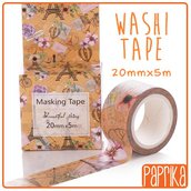 Washi Tape 20mm 5m- Fiorie Tour Eiffel Vintage