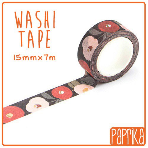 Washi Tape 7 metri - Nero Floreale