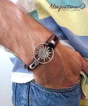 Bracciale nautico UOMO Bussola Rosa dei venti mare braccialetto pelle argento