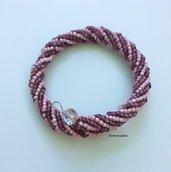 Bracciale spirale Herringbone rosa & fucsia