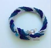Bracciale spirale Herringbone blu, azzurro & azzurro chiaro