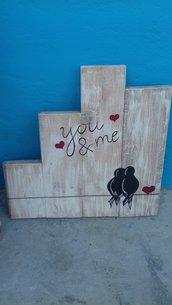 Targa in legno stile shabby you&me