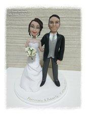 Scultura cake topper sposi caricature in porcellana