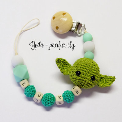 Catenella porta ciuccio clip Yoda - Star Wars - portaciuccio dentizione personalizzabile