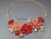 Collana kanzashi con fiori 1.1