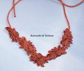 Collana kanzashi colore arancione 1