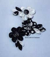 Spilla kanzashi colore nero bianco