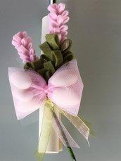 Bomboniera per battesimo- rametto rosa