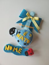 Fiocco nascita azzurro coccinella portafortuna