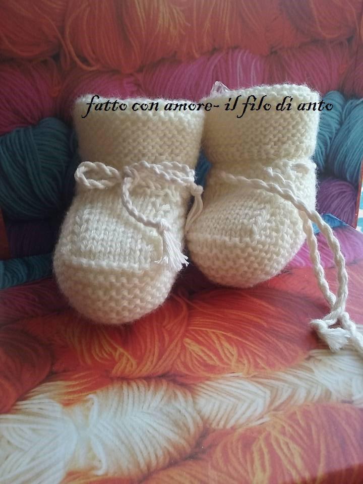 Scarpine stivaletto neonato in lana alpaca 100%