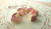 Fette torta  rosa fimo ciondolo charms materiale per creare bigiotteria decoden bomboniere