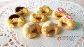 Cornetti croissant fimo ciondolo pendente dolci charm materiale per creare bigiotteria bomboniere idea regalo