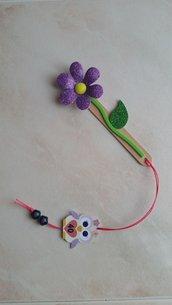 Segnalibro fiore glitterato