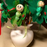 Matita con bruco verde di pannolenci, omaggi per festa bimbi, bomboniera Prima Comunione