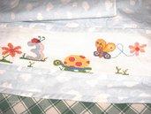 Completo per carrozzina, composto da lenzuolino,lenzuolino sotto e federa.