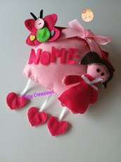 Fiocco nascita rosa fuoriporta casetta con principessa