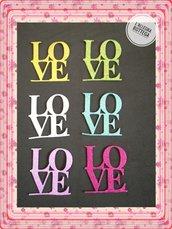 10 Fustellati LOVE in Gomma Crepla Glitterata o Tinta Unita