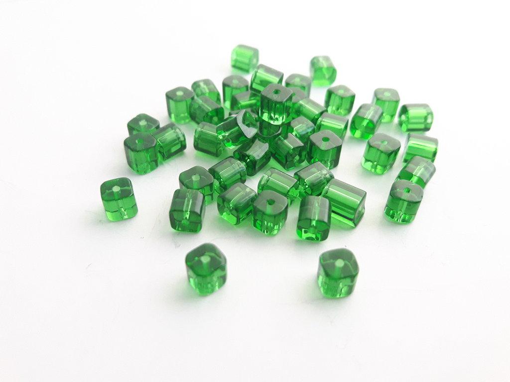 10 Perline di Vetro cubo - Verde (4mm)