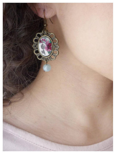 orecchini con cammeo dipinto a mano Le Fleur Du Mal