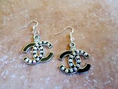 inspirated double cc earrings black and strass metal