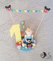 cake topper primo compleanno per bimbo con bandierine personaggio personalizzato
