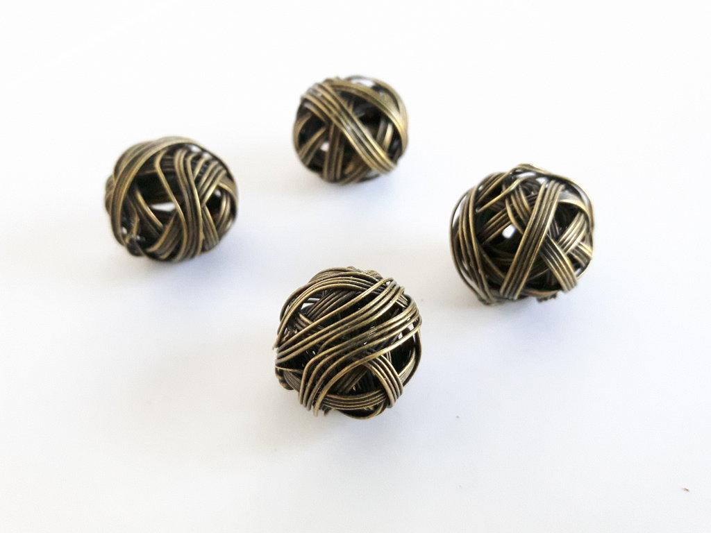 5pz - perline a Sfere di filo Bronzo (15mm)