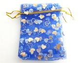3 Sacchetti regalo di Organza - Blu (9x12cm)